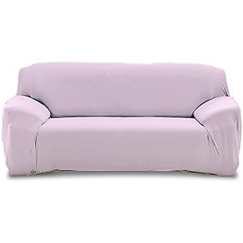 Blanc 4353 Housse de canap/é 3 places couleur unie tissu /élastique facile /à enfiler