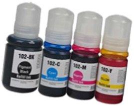 Printing Saver 102 SCHWARZ (1) Cyan (1) Magenta (1) GELB (1) Tintenflaschen zum Nachfüllen für Epson EcoTank ET-2700, ET-2750, ET-3700, ET-3750, ET-4750