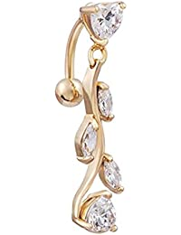 Sanwood® Sexy Kristall Bauchnabelpiercing Nabelpiercing mit Anhänger Bauchpiercing Bauchnabel Piercing Schmuck Gold