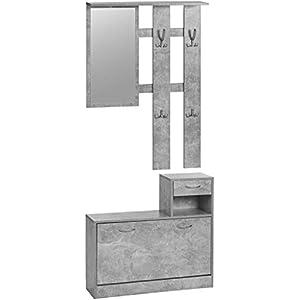 ts-ideen 3er Set Wand-Garderobe Spiegel Schuhkipper Schuhschrank mit Schublade und Ablage (Weiß)
