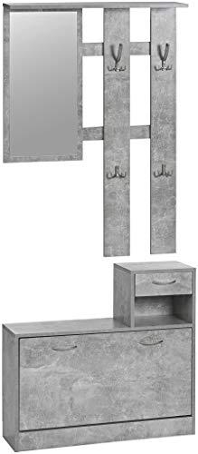 ts-ideen 3er Set Wand-Garderobe Spiegel Schuhkipper Schuhschrank mit Schublade und Ablage (Betonoptik)