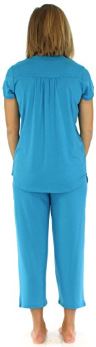 PajamaMania Ensemble de pyjama femme manches courtes à boutons vêtement de nuit Bleu Hawaïen