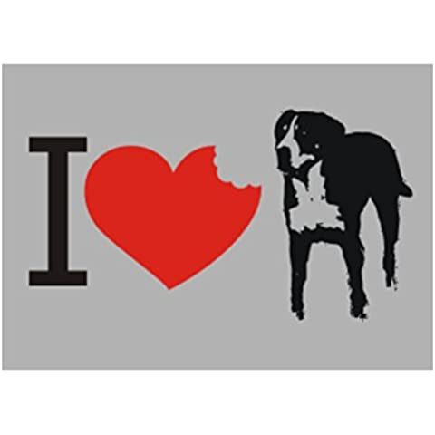 Teeburon I love Greater Swiss Mountain Dog SIlhouette Sticker Pacchetto di 4