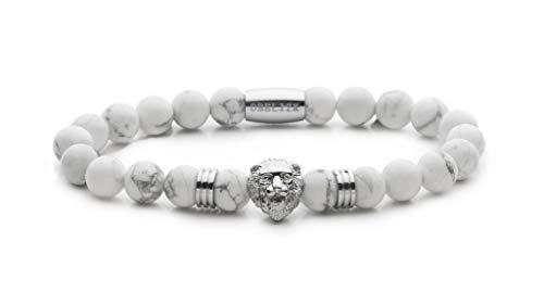 Obelizk Exklusiv Lion Armband für Männer Silver| Löwenkopf Bracelet mit weißen Jaspis Perlen|Geschenk Schmuckbox+ Luxury Accessories Guide
