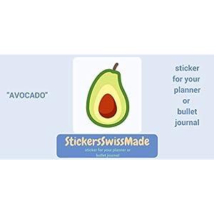 AUFKLEBER FÜR KALENDER    Avocado    Essen    kleine farbige Icons   für Kalender oder Bullet Journals