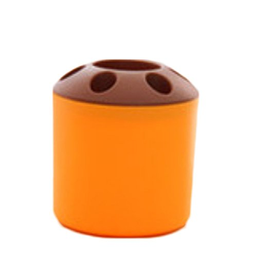 Orange Zahnbürstenhalter (wicemoon Schreibtisch Container Stifthalter Hohl Trash kann Papierkorb und Zahnbürstenhalter, plastik, Orange, 9x9x10.3cm)