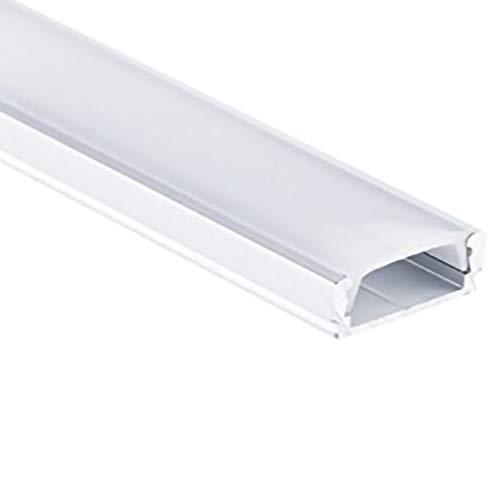 Profi LED Profil für LED Stripes - Serie Aufbauprofil Mini 12 eloxiert (Alu-Profil SET 10M (5x2M) Aluminium Aufbauprofil Mini 12 mit flacher milchiger Abdeckung)