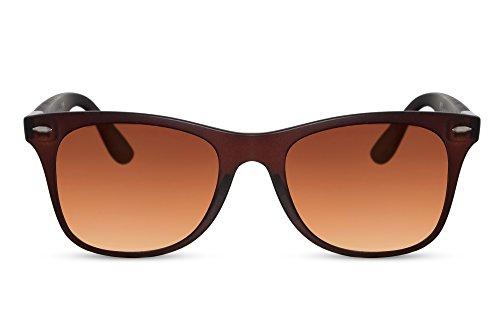 Cheapass Sonnenbrille Eckig Rot-Braun UV-400 Designer-Brille Klassisch-Cool Plastik Damen Herren