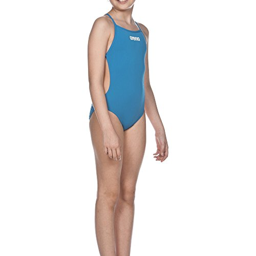 arena Mädchen Solid Lightech Junior Badeanzug, Turquoise/White, 164