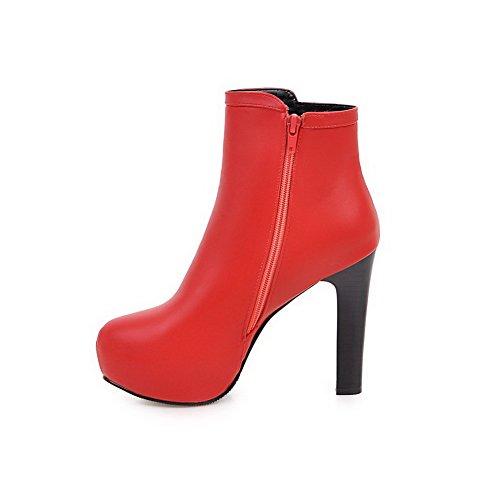 AllhqFashion Damen Niedrig-Spitze Hoher Absatz Spitz Zehe Stiefel mit Metallisch, Rot, 40