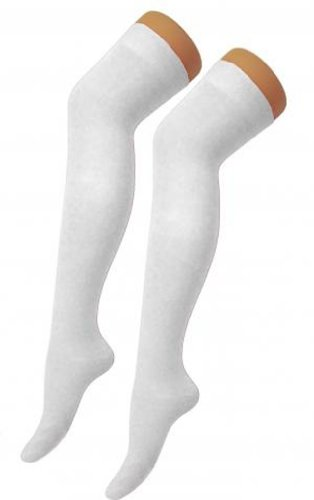 New Ladies Womens Over Knee Long Casual Ladies Thigh High Plain Stretch Fit Cotton Overknee Socks (White) Test