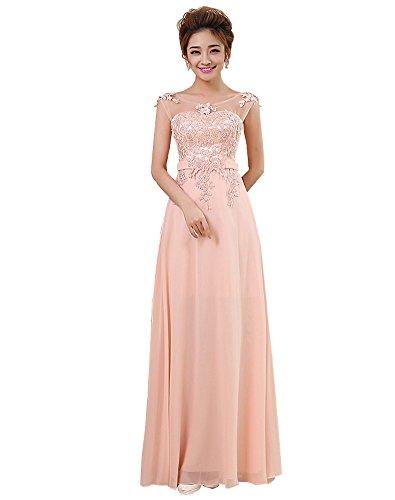 Erosebridal Lang HochzeitsgästeKleid Formal Appliques Brautjungfer Kleider Rosa DE46W Kleider Für Damen Formale