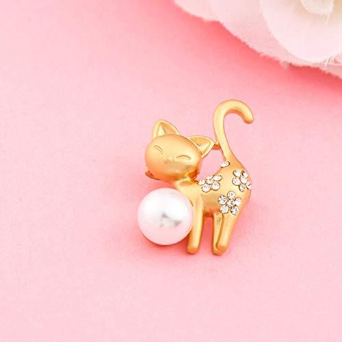 Hirsch Brosche Mode Sikawild Perle Brosche mit Schmuck Pin Pullover Mantel Schal Schnalle Kleidung, Kätzchen