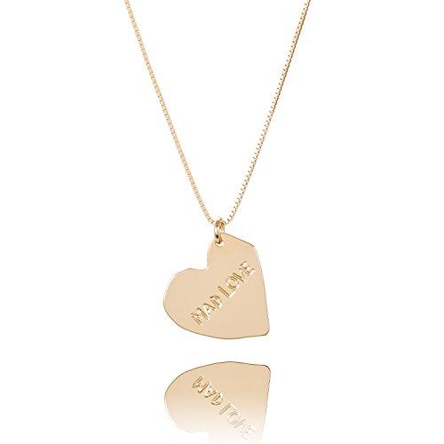 Malaika Raiss Damen Halskette Herz-Anhänger Mad Love Gravur 24 Karat vergoldet - N3132bl