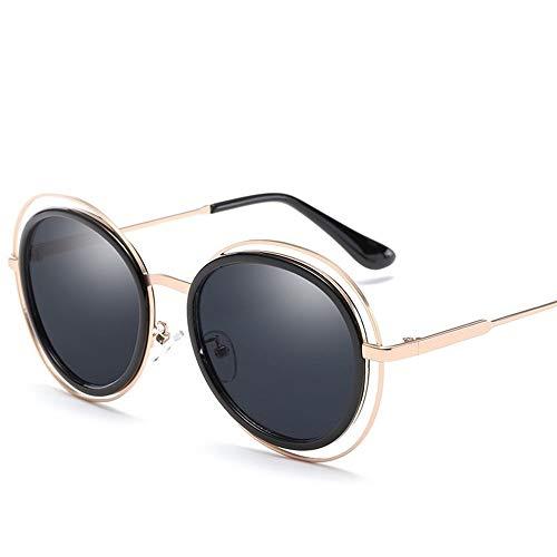 Easy Go Shopping Frauen weibliche polarisierte leichte Sonnenbrille Vintage Retro Metall Runde Sonnencreme UV400 Mode-Stil, Fahren Sonnenbrillen und Flacher Spiegel (Color : Gold+All Gray)