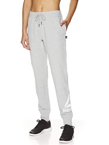 Reebok Women's Slim Fit Jogger Pants - Mid Rise Waist Athleisure Sweatpants for Women - Grey Heather Metro 2.0, X-Small
