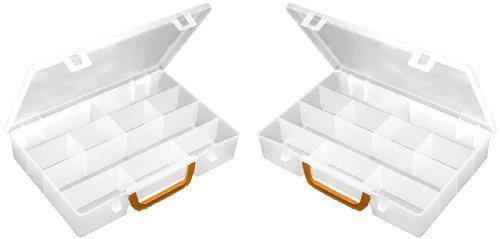 2 Stück XL Sortimentskasten Organizer mit Klappgriff in Rot. In komplett transparenter Ausführung. Jeder Kasten mit 11 Fächern! TOPP