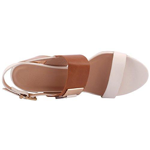 Unze Donne 'Olaf' doppio cinturino Mid tacco basso e largo promenade del partito di Get Together Carnevale Ufficio Sera sandali con tacco Scarpe Uk Size 3-8 Bianco