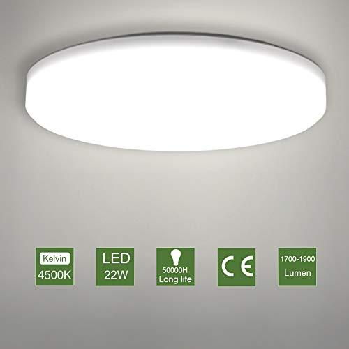LED Lámpara de Techo,22W Moderna Plafón Led de Techo Redonda Ultra Delgado Φ30 cm Impermeable 1900LM...