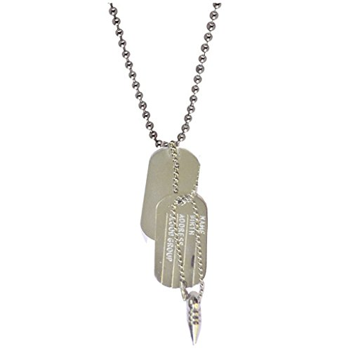 Men Style Personalised Two Silver Military Army Dog ID Tags & Necklace, Engraved Gift Pendant  available at amazon for Rs.195
