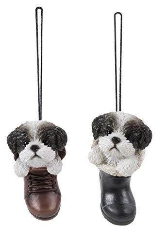 Vivid Arts Deko-Set Shih Tzu, hängende Stiefel und Gummistiefel, Schwarz/Weiß -
