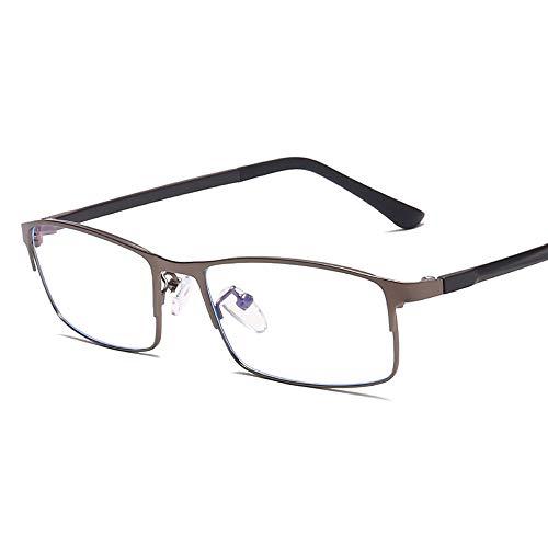 Easy Go Shopping Metallrahmen Anti-Blaulicht-Brille Classic Frame Business Men Plain Glasses Sonnenbrillen und Flacher Spiegel (Color : Dark Sliver, Size : Kostenlos)
