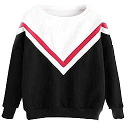 Sweat Shirt Femme, Sweat-Shirt Fille Ado Automne Contraste Sport Pull Oversize Chic Pas Cher à La Mode Manteau Veste Gilet Sweat Tee Shirt Streetwear T-Shirt (Noir, S)