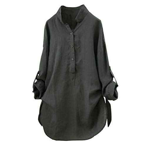 Lazzboy Womens Blouse Long Sleeve Cotton Solid Stand Collar Loose Oversized Button Shirt Tunic Tops