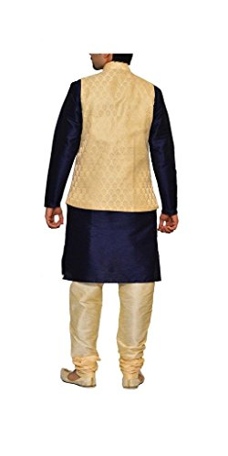 Mag Men's Navy Blue Kurta Gold Pyjami With Gold Jacket