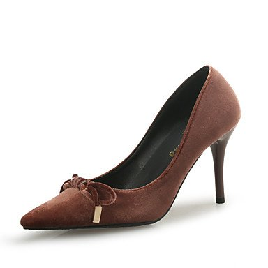 RTRY Donna Comfort Tacchi Floccaggio Autunno Inverno Office &Amp; Carriera Parte &Amp; Abito Da Sera Bowknot Stiletto Heel Nero Marrone 3A-3 3/4In US6.5-7 / EU37 / UK4.5-5 / CN37