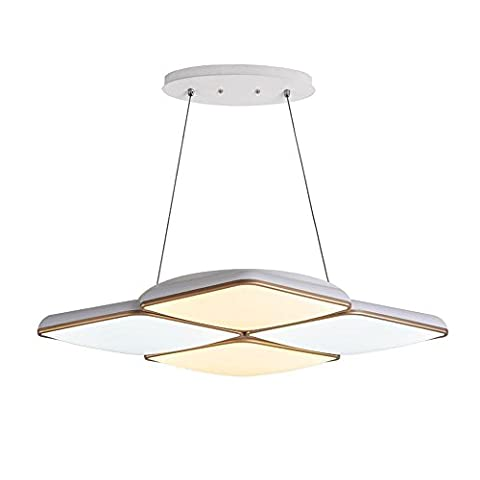 Modern Simple Square Geometry White Pendant Lamp Creative Personality Chandelier LED Ceiling Light for Living Room Bedroom