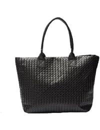 Mesdames classique PU sac fourre-tout sac à bandoulière concepteur de célébrité shopper en cuir de style, de couleur noire ou beige
