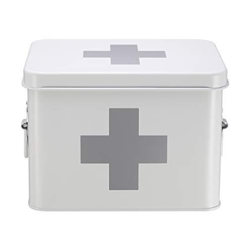 Mari Home Medizinkasten aus Zinn, zweilagig, mit 4 Unterteilungen, Weiß, ohne Erste-Hilfe-Zubehör - 22,5 x 16,5 x 16 cm