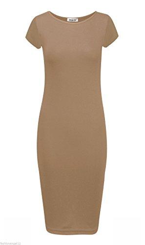Jersey-Kleid für Damen, Flügelärmel, figurbetont, Übergrößen, 34 -54 Camel
