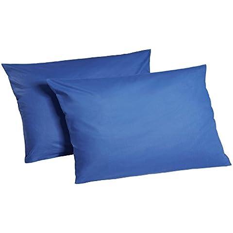 Juego de fundas de almohada 100% algodón conjunto de 2, 100 % algodón algodón, azul cobalto, 40 x 80 cm