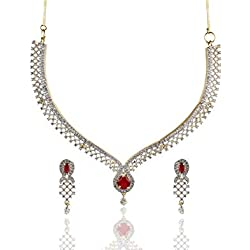 Cardinal American Diamond Peacock Shape Stylish Necklace Pendant Set with Earring for Women/Girls
