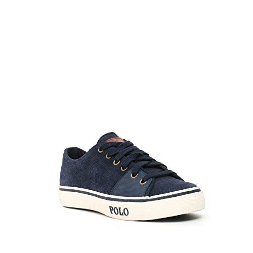 Polo Ralph Lauren chaussures baskets sneakers homme en daim cantor low blu Blu