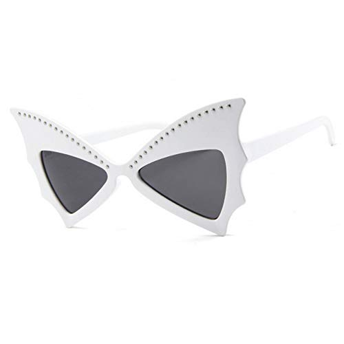 Taiyangcheng Polarisierte Sonnenbrille Sonnenbrille Frauen großen Rahmen cat Eye Sonnenbrille genietete Fledermaus Sonnenbrille Damen Vintage Party Brille für männer Festival,Weiß