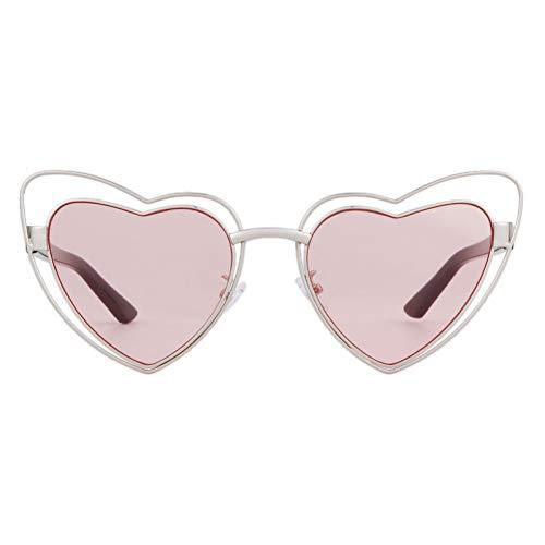 ZRTYJ Sonnenbrille Liebe Herzform Sonnenbrille Frauen draht metallrahmen Vintage Retro cat Eye Sonnenbrille rot rosa gelb objektiv -