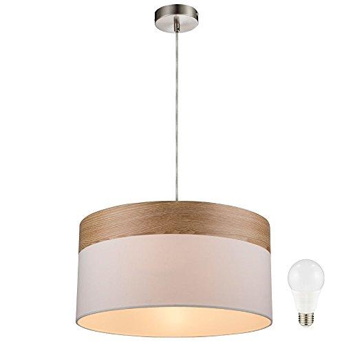 Hänge Lampe Decken Pendel Beleuchtung Holz Leuchte Textil beige im Set inklusive LED Leuchtmittel