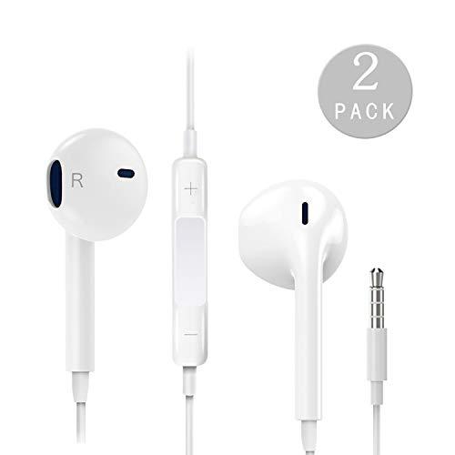 Humupii 2 Pack in-Ear Cuffie Auricolari con Telecomando e Microfono per iOS, Android