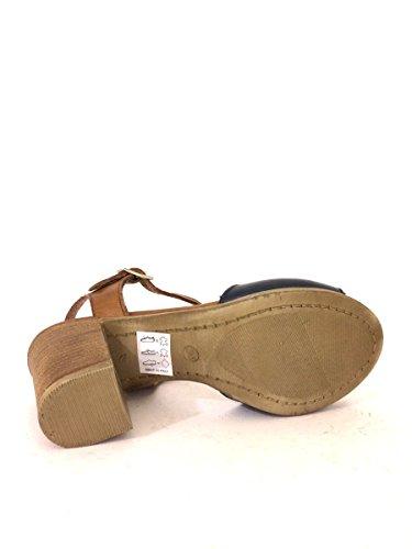 Sandali tacco comodo NNau92 in pelle made nero cuoio blu MainApps Blu