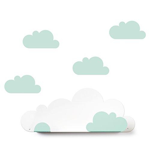 Tresxics Estantería Nubes, Metal, Mint, 37x24x7 cm