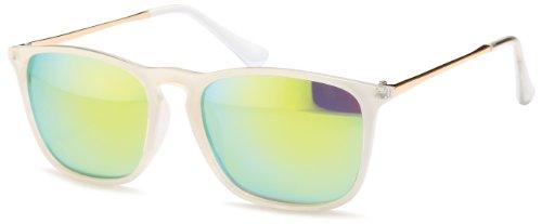 Transparente Sonnenbrille im angesagten Wayfarer Style mit verspielten Gläsern und bronzefarbenden Metallbügeln Brillentrends (grün-hell)