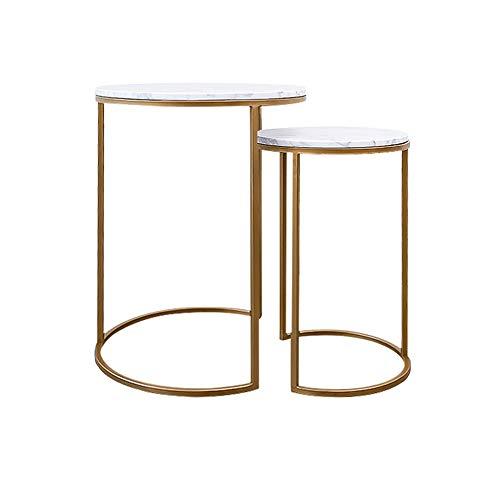 Zhuozi FUFU Tische Satztische, Gold Beistelltisch Gehärtetes Glas Metall Beistelltisch Runder Couchtisch für kleine Räume, Wohnheim in 2 Größen Drop-Blatt-Tabelle (größe : 31×48cm+41×54.5cm)