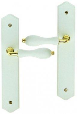 Poignée de porte intérieure en zamak doré brillant et bois laqué blanc sur plaque BdC, BOIS BLANC