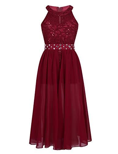 Prinzessin Kleid Kleid (Tiaobug Festlich Mädchen Kleid für Kinder Prinzessin Spitzen Kleider Hochzeit Blumenmädchenkleid 92 104 116 128 140 152 164 Rot mit Shorts 152)