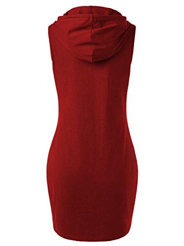 DJT Damen Kapuzenkleid Sportlich Sommerkleid Mit Taschen Kleid Rot
