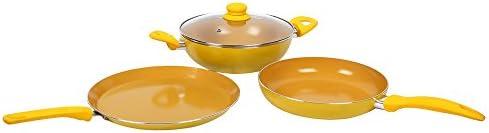 Wonderchef Da Vinci Aluminium Frying Pan Set, 3-Pieces, Yellow