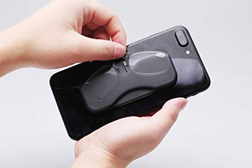 Anti-blauer Clip Nase Lesebrille Mini Wallet Lesebrille tragbare Aufkleber Mobile Lesebrille,Black,+2.00 (Gucci-brillen-rahmen Für Männer)
